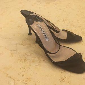 Manolo Blahnik Black Satin Sandals size 37.5